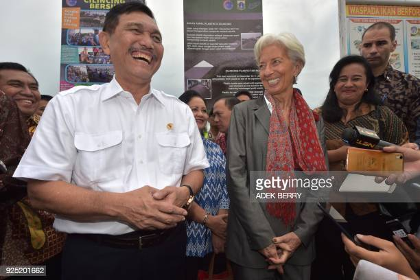 Managing Director of the International Monetary Fund Christine Lagarde and Indonesia's Coordinating Minister for Maritime Affairs Luhut Binsar...