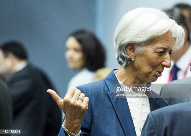 Managing Director of the International Monetary Fund Christine Lagarde gestures as she attends a meeting of the Eurogroup finance ministers in...