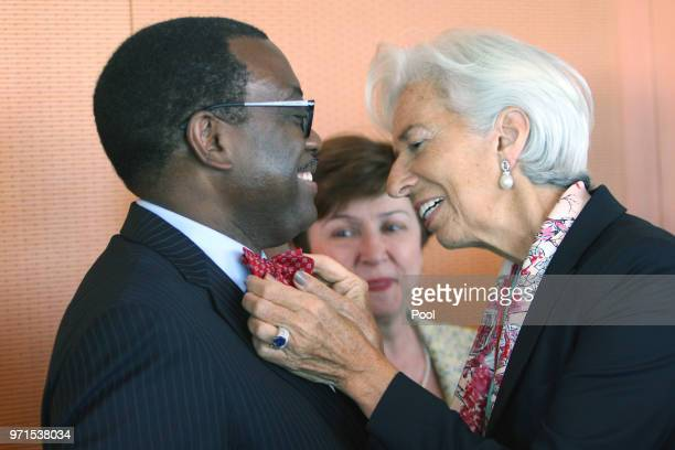 Managing Director of the International Monetary Fund Christine Lagarde greets Akinwumi Adesina as they attend a meeting with the chairmen of...