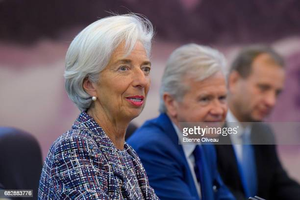 Managing Director of the International Monetary Fund Christine Lagarde speaks during her meeting with Chinese Premier Li Keqiang at the Great Hall of...