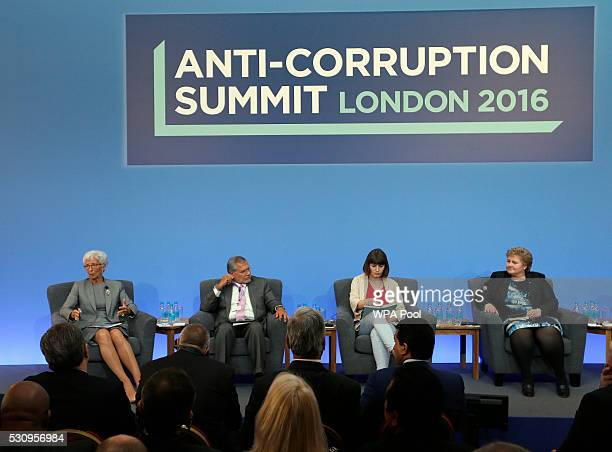 Managing Director of the International Monetary Fund Christine Lagarde Jose Ugaz of Transparency International Daria Kaleniuk and Norway's Prime...