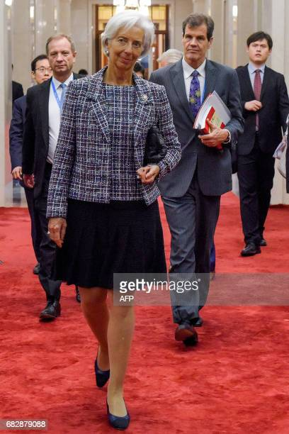 Managing Director of the International Monetary Fund Christine Lagarde meets Chinese Premier Li Keqiang at the Great Hall of the People in Beijing on...