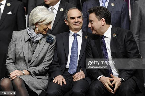 L R Managing Director of the International Monetary Fund Christine Lagarde Turkey's Central Bank Governor Erdem Basci and Turkey's Deputy Prime...