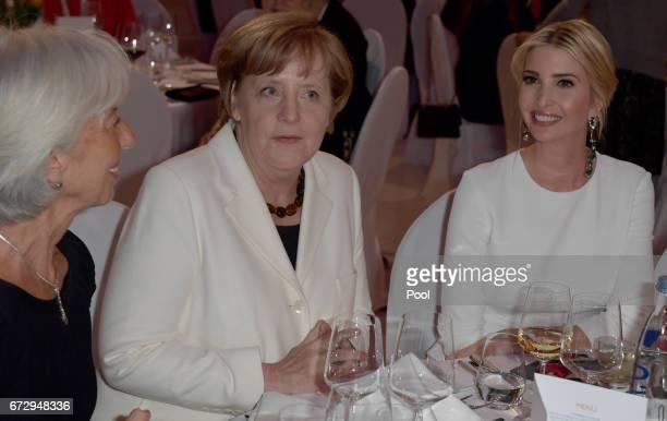 Managing Director of the International Monetary Fund Christine Lagarde German Chancellor Angela Merkel and Ivanka Trump daughter of US President...