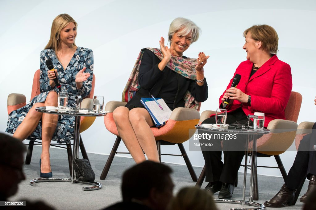 Managing Director of the International Monetary Fund (IMF) Christine Lagarde (C), German Chancellor Angela Merkel (R) and Daughter of US President Ivanka Trump (L) attend the Woman 20 Summit in Berlin, Germany on April 25, 2017. The event, which is connected to the G20 under the German leadership is dedicated to Women's Economic Empowerment and Entrepreneurship.
