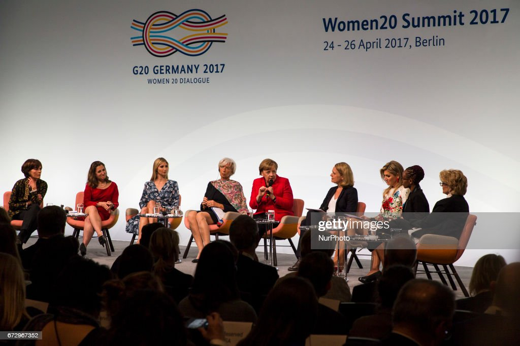 Managing Director of the International Monetary Fund (IMF) Christine Lagarde (4R), German Chancellor Angela Merkel (C), Daughter of US President Ivanka Trump (3L), Canada's Minister for Foreign Affairs Chrystia Freeland (2L), Queen Maxima of the Netherlands (3R) and Vice Chairwoman of the Bank of America Anna Finucane (R) attend the Woman 20 Summit in Berlin, Germany on April 25, 2017. The event, which is connected to the G20 under the German leadership is dedicated to Women's Economic Empowerment and Entrepreneurship.