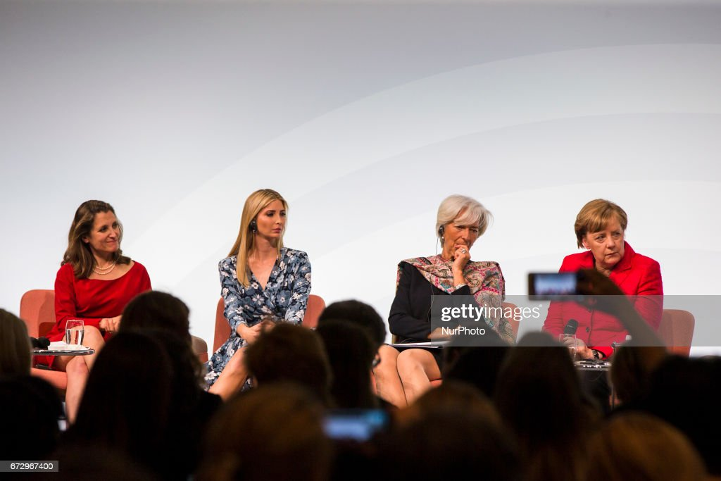 Managing Director of the International Monetary Fund (IMF) Christine Lagarde (2R), German Chancellor Angela Merkel (R), Daughter of US President Ivanka Trump (2L) and Canada's Minister for Foreign Affairs Chrystia Freeland (L) attend the Woman 20 Summit in Berlin, Germany on April 25, 2017. The event, which is connected to the G20 under the German leadership is dedicated to Women's Economic Empowerment and Entrepreneurship.