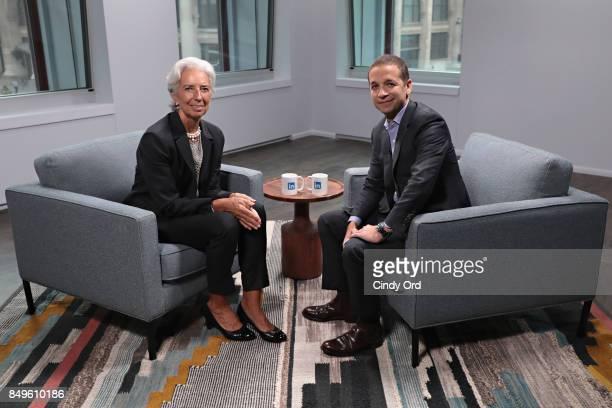 Managing Director of the International Monetary Fund Christine Lagarde speaks with LinkedIn Executive Editor Dan Roth at LinkedIn Studios on...