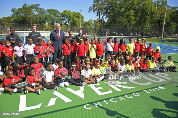 Managing director of the Laver Cup Steve Zacks poses with local students and community members during the Laver Cup Legacy Court Ceremony at Garfield...