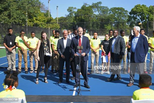 Managing director of the Laver Cup Steve Zacks speaks with local students and community members during the Laver Cup Legacy Court Ceremony at...