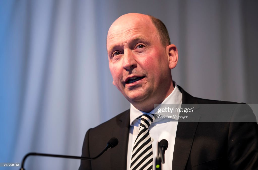 Managing director Stephan A. C. Schippers of Borussia Moenchengladbach talks during the Annual Meeting of Borussia Moenchengladbach at Borussia-Park on April 16, 2018 in Moenchengladbach, Germany.