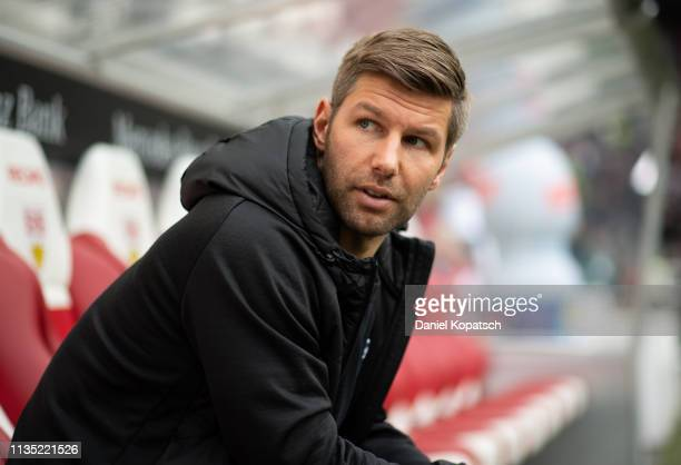 Managing Director Thomas Hitzlsperger of Stuttgart reacts prior to the Bundesliga match between VfB Stuttgart and 1. FC Nuernberg at Mercedes-Benz...