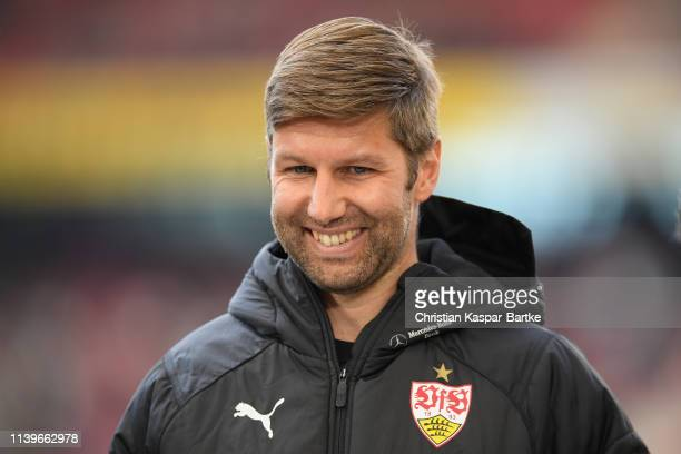 Managing Director Thomas Hitzlsperger of VfB Stuttgart looks on ahead of the Bundesliga match between VfB Stuttgart and Borussia Moenchengladbach at...
