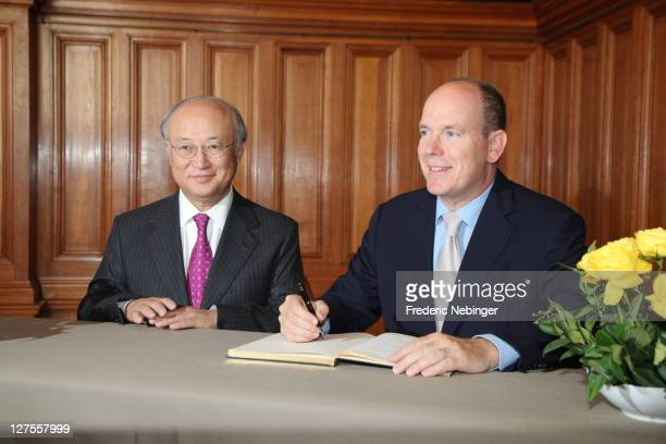Managing Director Ykiya Amano and Prince Albert II of Monaco attend IAEA 50th Anniversary' Celebration at Musee Oceanographique on September 29, 2011...