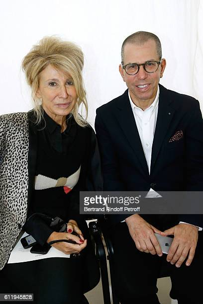 Managing Editor at Madame Figaro AnneFlorence Schmitt and CEO Conde Nast Jonathan Newhouse attend the Balenciaga show as part of the Paris Fashion...