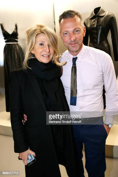 Managing editor at Madame Figaro AnneFlorence Schmitt and French fashion historian Olivier Saillard who choose 41 works of Azzedine Alaia for the...
