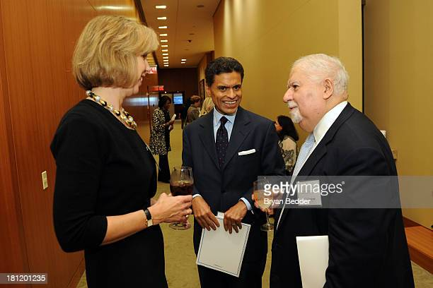 Managing Editor Nancy Gibbs Fareed Zakaria and Persident of Carnegie Corporation of New York Vartan Gregoria attend the TIME Summit On Higher...