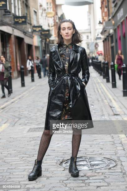 Managing editor of Because Magazine Abigail GurneyRead wears a vintage coat dress and shoes on day 5 of London Womens Fashion Week Autumn/Winter 2018...