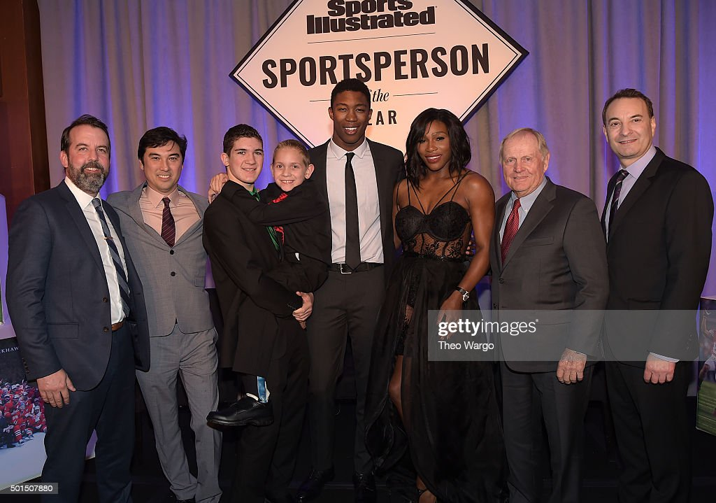 Managing Editor of Sports Illustrated Kids Mark Bechtel, Managing Editor for Sports Illustrated Chris Stone, Award winners SI High School Athlete of the Year Hunter Gandee, with brother Braden Gandee, SI Kids 2015 SportsKid of the Year Reece Whitley, SI 2015 Sportsperson of the Year Serena Williams, SI Muhammad Ali Legacy Award Recipient Jack Nicklaus and Time Inc. Sports Group Editor Paul Fichtenbaum pose for a photo together on stage during Sports Illustrated Sportsperson of the Year Ceremony 2015 at Pier 60 on December 15, 2015 in New York City.