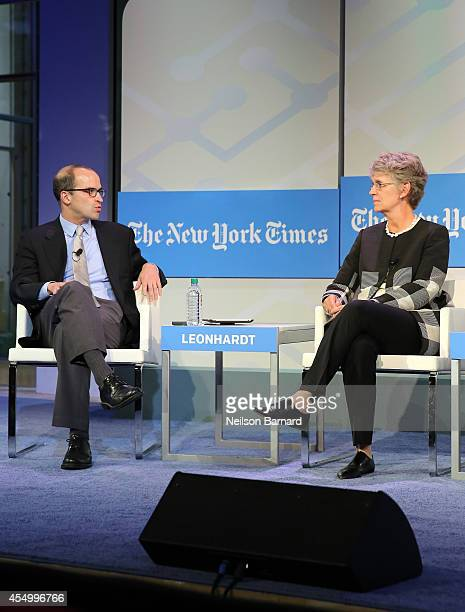 Managing Editor of The Upshot David Leonhardt and President of Vassar College Catharine Bond Hill speak onstage at The New York Times 2014 Schools...