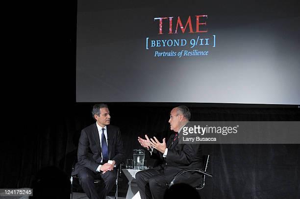 TIME managing editor Richard Stengel and former New York City Mayor Rudy Giuliani speak during Time Warner's Beyond 9/11 Photo Exhibit and Screening...