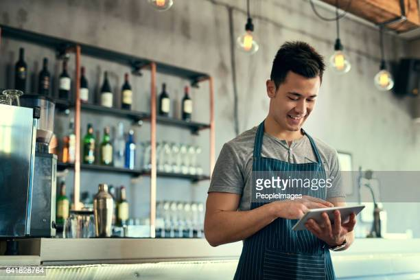 Managing his business online