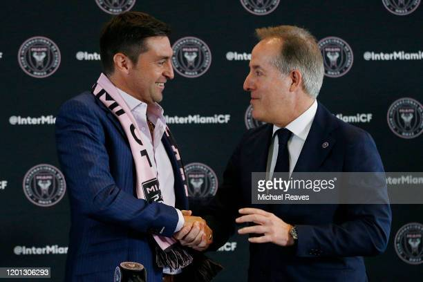 Managing owner Jorge Mas of Inter Miami CF introduces Diego Alonso as the new head coach during a press conference at the Rusty Pelican on January 22...