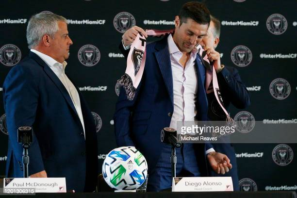 Managing owner Jorge Mas of Inter Miami CF introduces Diego Alonso as the new head coach during a press conference at the Rusty Pelican on January...