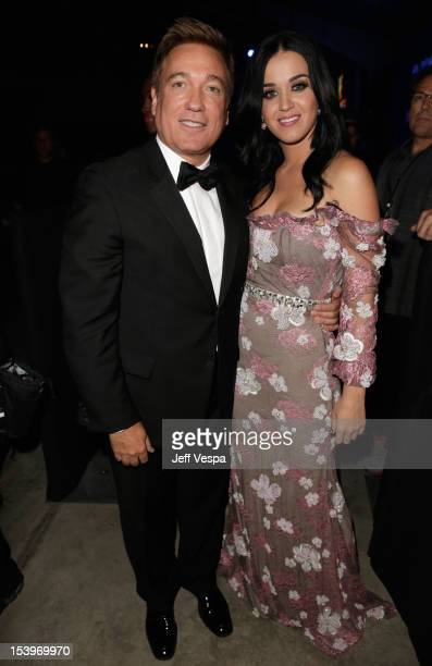 Managing Partner/amFAR Honoree Kevin Huvane and singer Katy Perry attend amfAR's Inspiration Gala at Milk Studios on October 11 2012 in Los Angeles...
