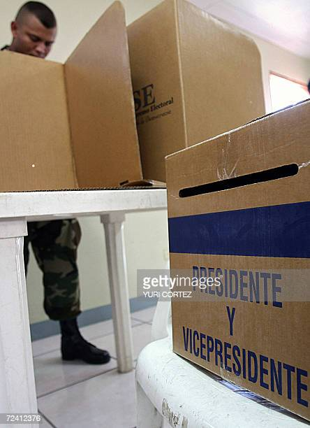 A member of the Nicaraguan Army casts his vote 05 November 2006 in Managua during general elections Voting got under way Sunday morning in Nicaraguan...