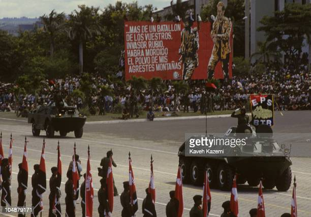 A military parade with Russian made armored vehicles in main square Managua celebrating the anniversary of FSLN 2nd November 1986