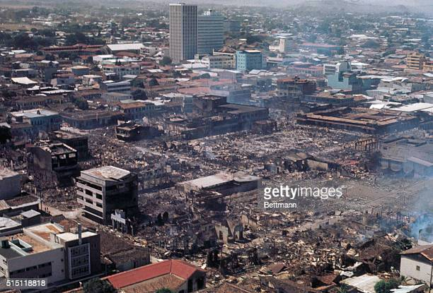 Air view of Managua showing the destruction of the city following the earthquake