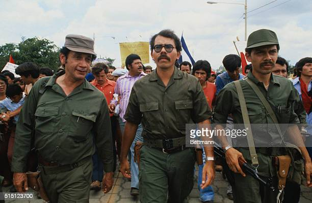 Daniel Ortega member of Nicaragua's junta leads thousands of Nicaraguans through the streets of the capital in demonstration of support for the new...