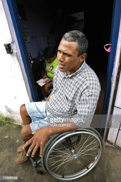 Ricardo Aleman a veteran of the Sandinista Popular Army who was wounded during the last civil war is seen in his wheelchair 03 November 2006 as he...