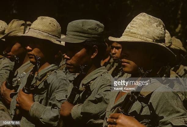 Sandinista soldiers gather for military excercises on the outskirts of Managua 25th October 1986
