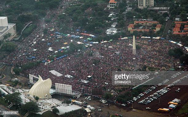 This 19 July 2007 aerial view shows Faith Square in Managua Nicaragua as the Sandinista National Liberation Front celebrate the 28th Aniversary of...