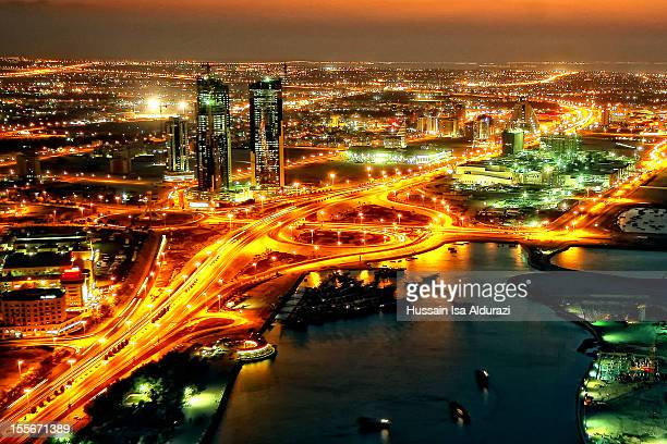 manama at night - bahrain - manama stock pictures, royalty-free photos & images