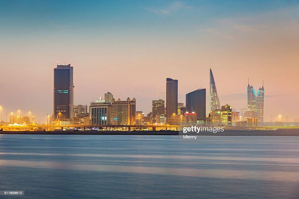 Manama Bahrain Cityscape Twilight : Stock Photo