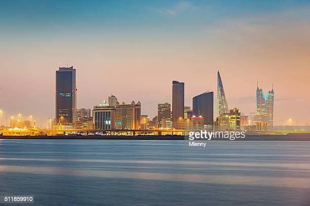 manama bahrain cityscape twilight - bahrain stock pictures, royalty-free photos & images