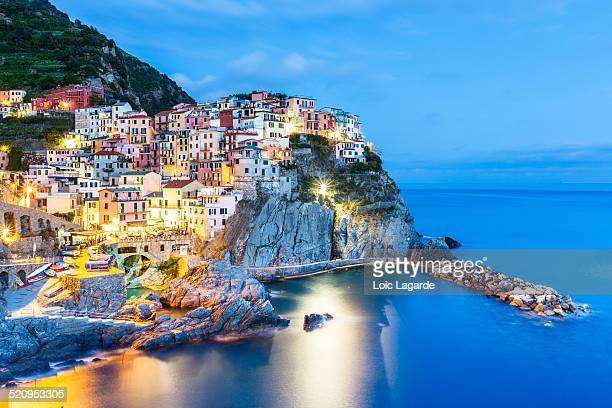 manarola at blue hour - lagarde stock photos and pictures