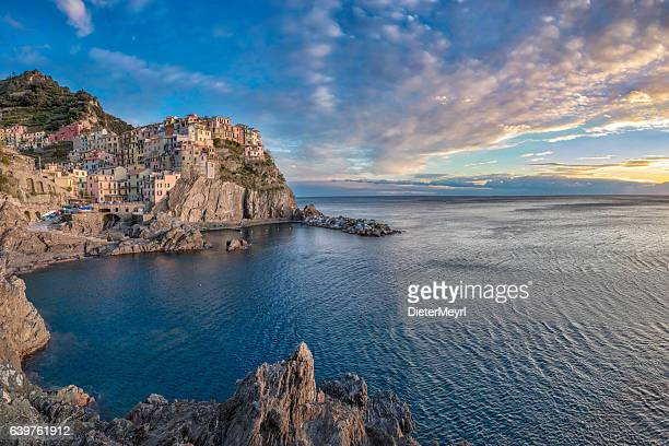 Manarola at sunny day, Cinque Terre National Park, Ligurian Italy