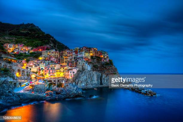 manarola blue hour - unesco stock pictures, royalty-free photos & images