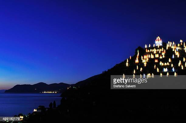Manarola, Christmas illuminations on a hill