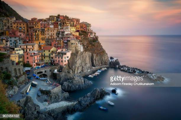 Manarola, Cinque Terre (Italian Riviera, Liguria) amazing beautiful view at sunset
