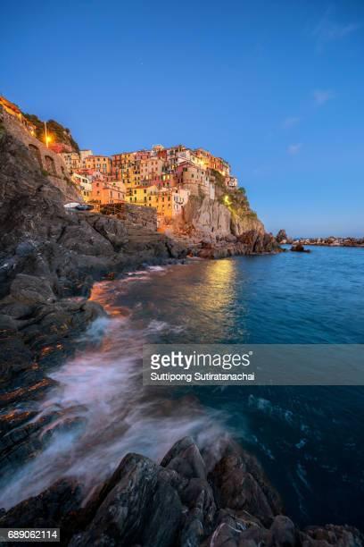 Manarola, Cinque Terre (Italian Riviera, Liguria) amazing beautiful view at twilight