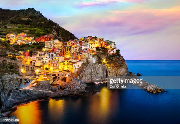 Manarola cinque terre italy sunset blue hour long exposure clouds colour