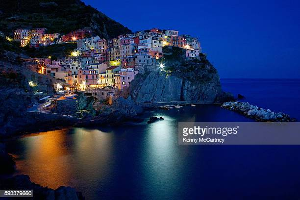 manarola - italy at dusk - san remo italy stock pictures, royalty-free photos & images