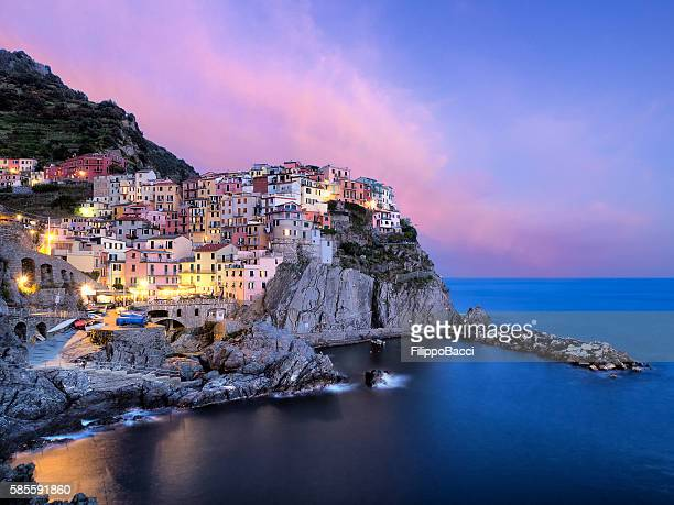manarola view at sunset - coastline stock photos and pictures