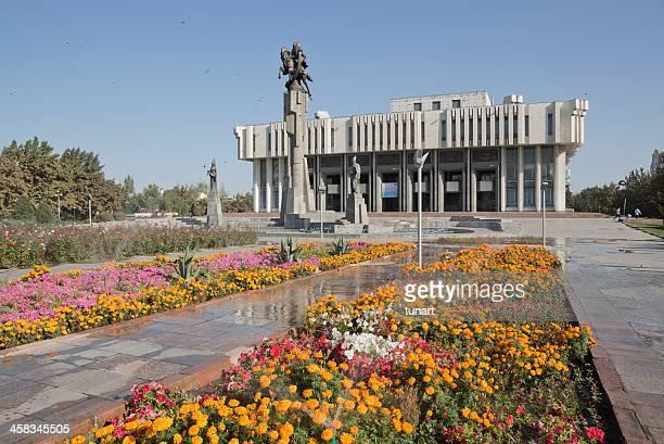 manas statue and philharmonic building, bishkek, kyrgyzstan - bishkek stock pictures, royalty-free photos & images