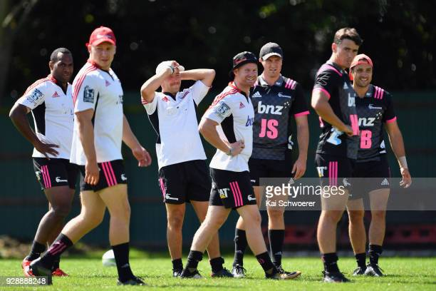 Manasa Mataele Jack Goodhue Mitchell Hunt Mitchell Drummond Jack Stratton Will Jordan and Tim Bateman look on during a Crusaders Super Rugby training...